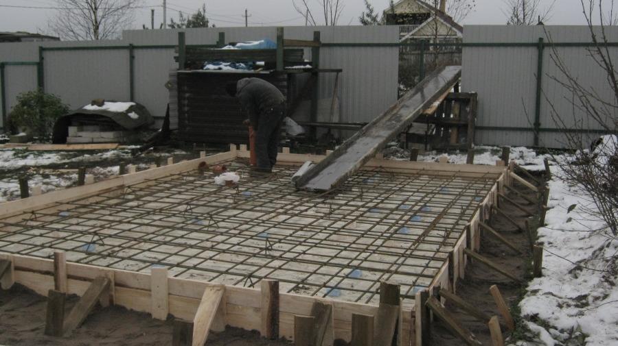 Фундамент плита под баню